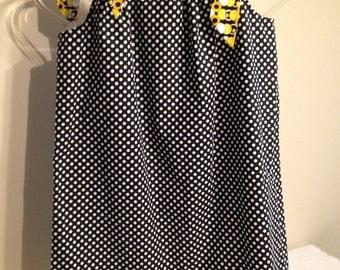 Black with White Polka Dots Pillowcase dress Size 4 5 Sale