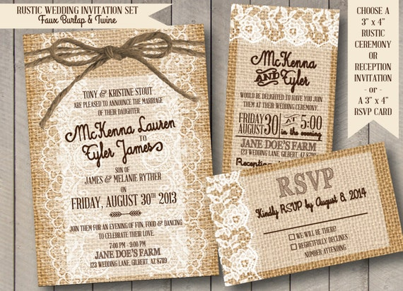 Burlap Wedding Invitations Diy: Items Similar To Rustic Wedding Invitation Set