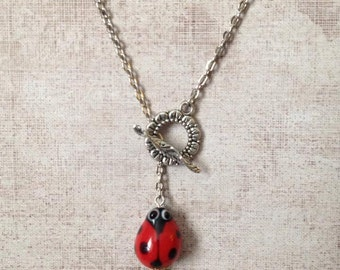 Lady bug leaf necklace