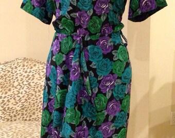 Vintage 1980's Multi Color Roses Wiggle Dress Rockabilly