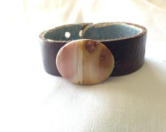 leather wrist cuff with large jasper stone