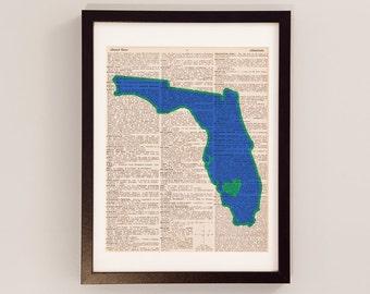 FGCU Eagles Dictionary Art Print - Fort Meyers Florida Art - Print on Vintage Dictionary Paper - Florida Gulf Coast University, Dunk City