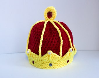LAST ONE.....Baby Grand Crown, Beautiful Baby Crown, Crochet Crown, Baby King Crown, Baby Shower Gift.