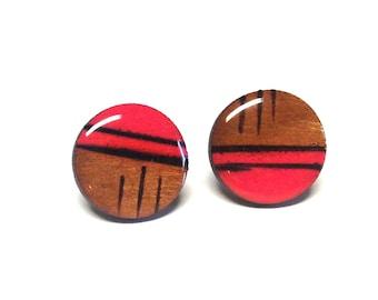 Pink and Black earrings, Wood stud earrings. Round wood earrings, Wood studs, Wood earrings, Pink round earrings, wood burned studs