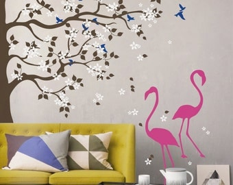 Large Tree decal, nursery vinyl decal, tree wall decal, Vinyl Wall Decal Flamingos stickers MM029