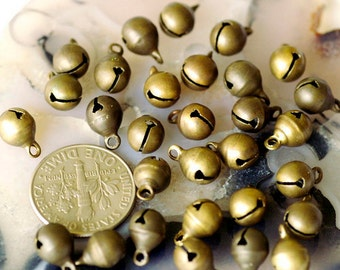 6mm Brass Jingle Bells Vintage Bell Charm Beads rb33(50pcs)