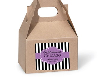 Custom Wedding Welcome Bag Stickers Personalized Gable Box Labels for Out of Town Guests