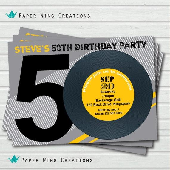 Retro 50th Birthday Invitation. 80's Theme By