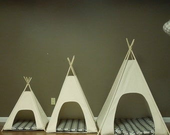 """Large Dog Teepee Pet Tent -36"""" base  Natural Canvas PICK YOUR PILLOW - Ready to  Make or Custom Order it - Tenthouse Suites by Vintage Kandy"""