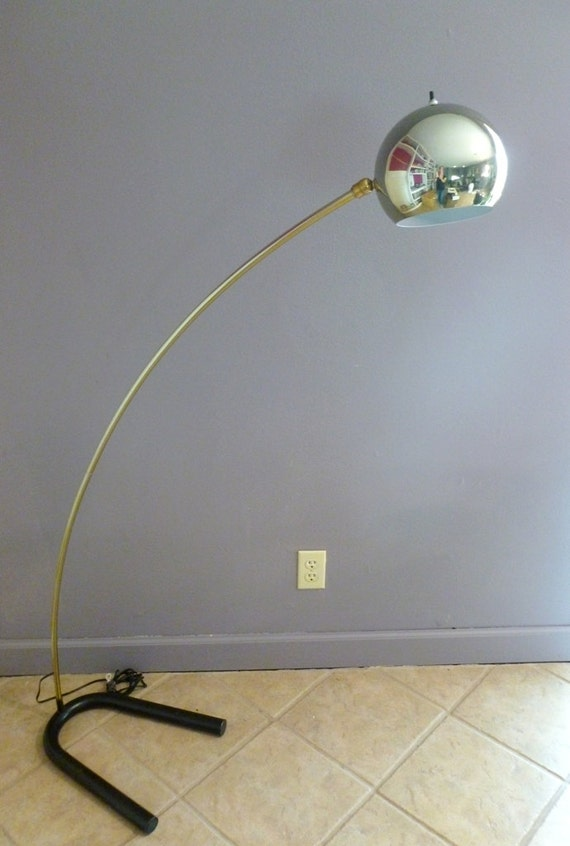 sold vintage brass arc floor lamp mid century modern dome eyeball. Black Bedroom Furniture Sets. Home Design Ideas