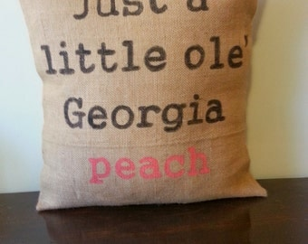 Little Ole' Georgia Peach Pillow
