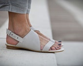 30% Sale, Francis, White Leather Sandals, Wedding Shoes, Flat Summer Shoes, White Sandals, Asymmetric Shoes