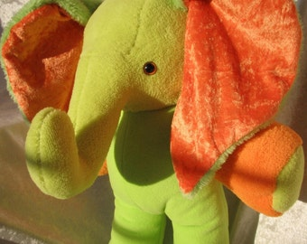 Green ELEPHANT Baby Shower, soft TOY elephant nursery decor, stuffed elephant green orange, stuffed animal elephant, handmade elephant lime