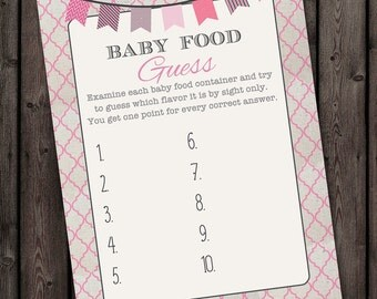 INSTANT DOWNLOAD Baby shower guess the baby food game