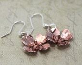 Silver and Copper Flower Earrings - Dogwood Flower - Copper Earrings - Dogwood Jewelry