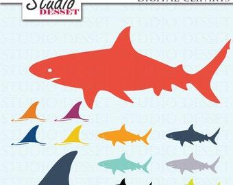 Shark Cliparts, Shark Fin Clip Art, Shark day Illustrations, Digital Summer Cliparts C231