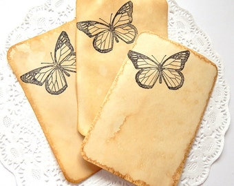Coffee Stained Note Cards. Stationery. Junk Journal Paper. Coffee Stained Tags. Tea Stained Paper. Stamped Stationery. Butterfly Stamp.