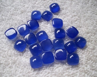 square cushion (10 mm) DEEP BLUE chalcedony cabochon have lots of gorgeous..... AAA quality beautiful deep blue color