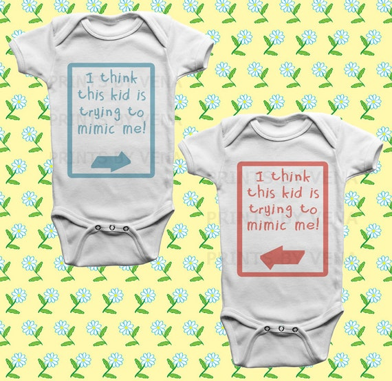 Baby Gift Ideas Twins : Twin onesies baby shower gift twins gifts boy girl