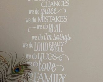 Vinyl Wall Quote, Family Rules, In This House, removable white matt vinyl, Wall Decor, housewares, Home Decor, inspirational