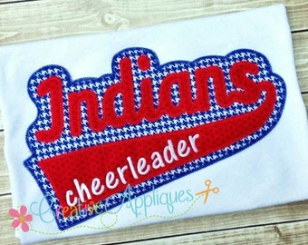 Indians Digital Machine Embroidery Applique Design 6 sizes, indians applique, indians mascot, indians word, indians name, indians team