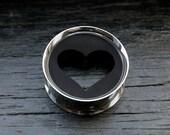 Heart Plugs Black Stainless Steel Tunnel Piercing Body Jewelry