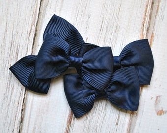 "Navy Blue Tuxedo Bows 3pc - 2.5"" inch - hair accessory - bow appliques - grosgrain bows"