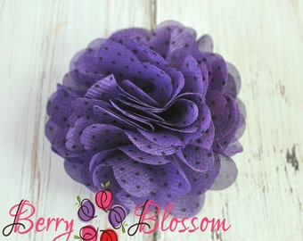 2 pc Purple Polka Dot Chiffon Flower 3 inch - flower accessory - headband flower - 4D flowers - chiffon wedding flowers