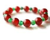 Red bracelet green bracelet carnelian bracelet memory wire bracelet green agate bracelet Valentines Day Birthday present
