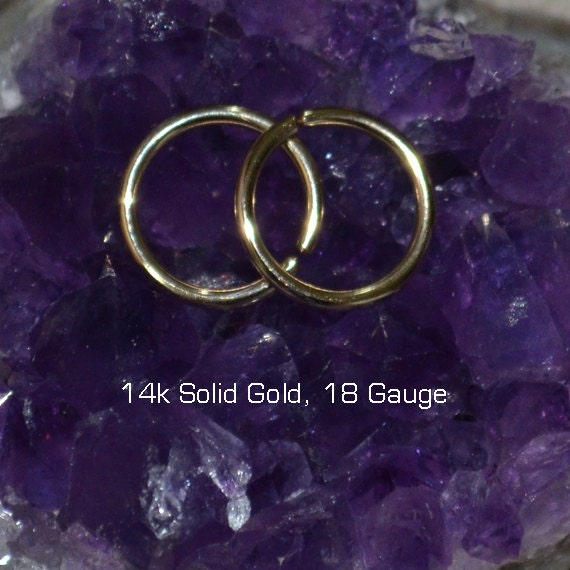 Solid Gold Nose Ring Hoop - Nose Ring - Nose Stud - Rook Earring - Septum Piercing - Tragus Jewelry - Cartilage Earring - Daith Piercing 18g