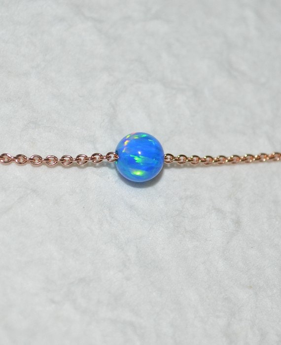 Opal Jewelry, opal ball/bead necklace, dark blue opal necklace, opal Rose Gold necklace, simple/elegant tiny dot necklace