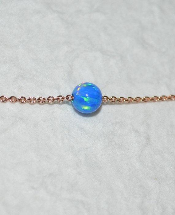 Opal Jewelry, opal ball/bead necklace, dark blue opal necklace, opal Rose Gold necklace, simple/elegant tiny dot necklace