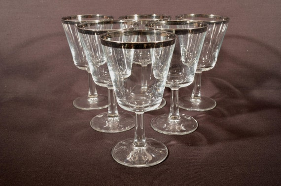 Dorthy Thorpe Style Silver Rimmed Cocktail Glasses France