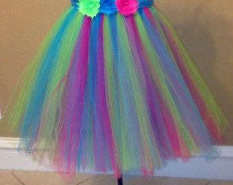 Pink, turquoise and lime green tutu dress