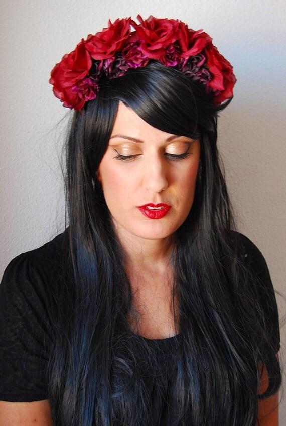 Corona de Flores Romántica Diadema de Rosas Rojas Oscuras