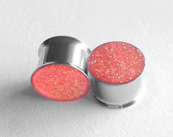 "Neon orange glitter plugs 5/8"""
