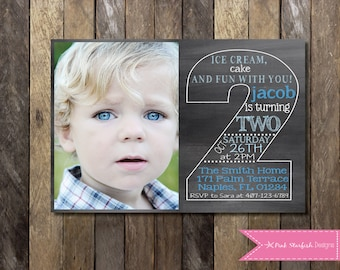 2nd birthday invitation boy blue green silver glitter second