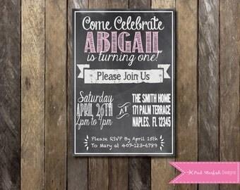 PRINTABLE Chalkboard First Birthday Invitation - 1st Birthday Invitation -  Girls Boys Birthday Party 4x6 or 5x7