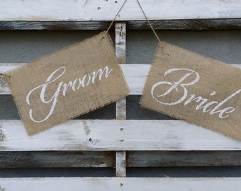 Rustic Bride and Groom Burlap Chair Signs, Burlap Wedding Signs, Rustic Wedding Decor, Bride and Groom Signs, Burlap Wedding, Photo Prop