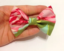 Red and Pink Rose Floral Fabric Hair Bow on Alligator Clip - 3.25 Inch Wide
