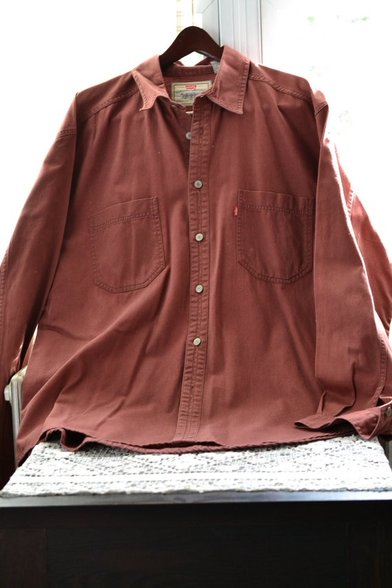Levi's Red Tab Denim Shirt Rust Red Men's Long Sleeve