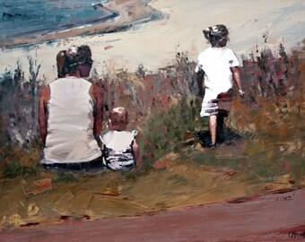 Giclee art print of my original impressionist oil painting 'Beachside'.