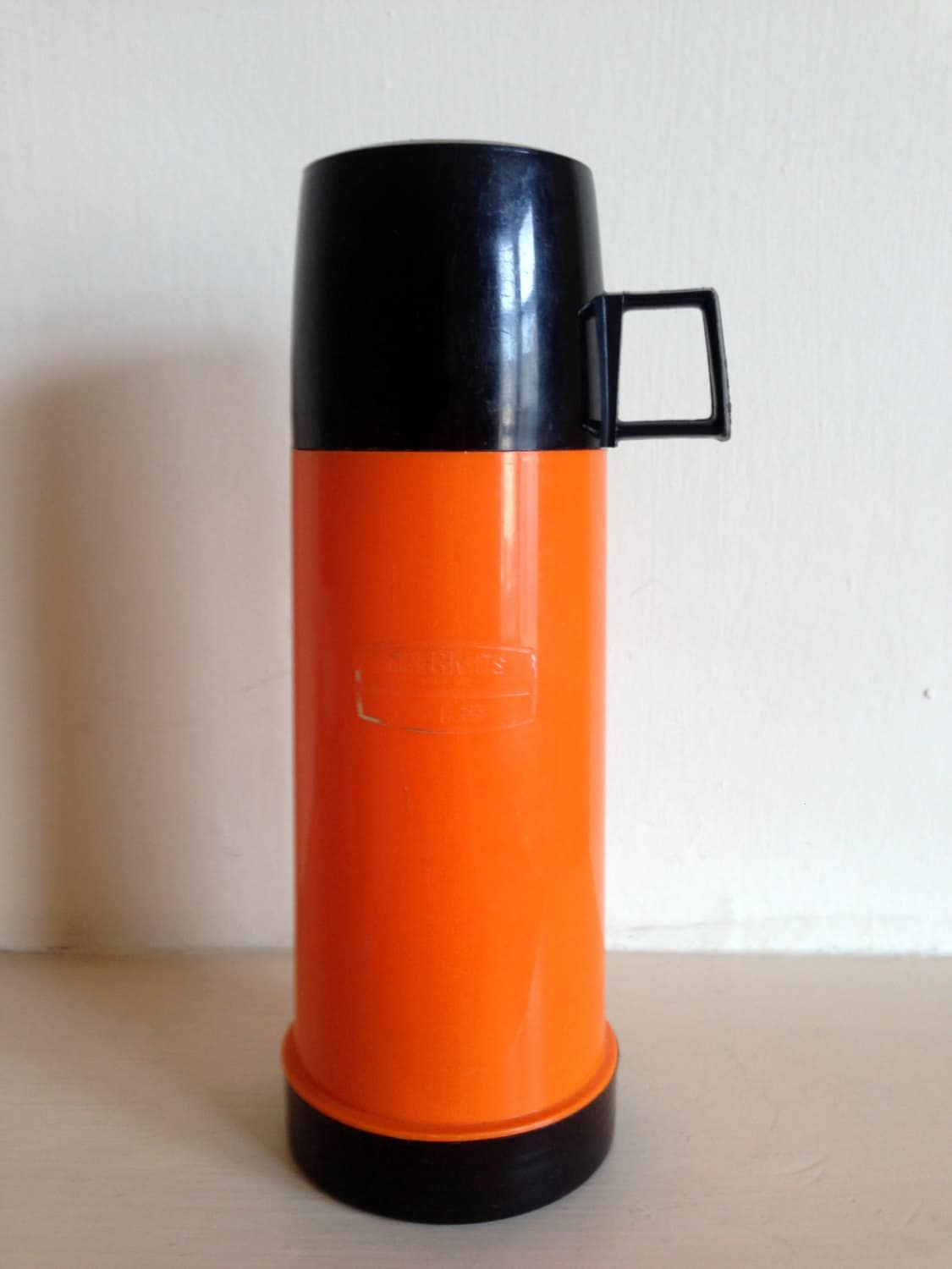 Vintage Bright Orange Thermos Flask 1 Litre Size Made In