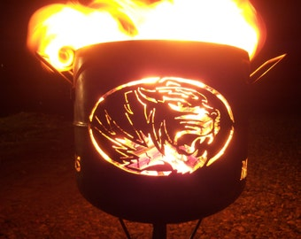 MIZZOU Tigers compact fire pit. hand made from salvaged steel.