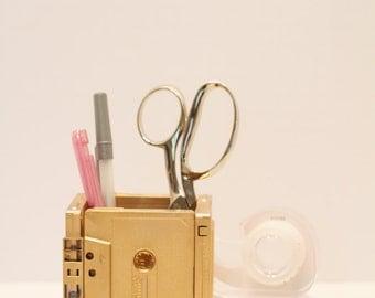 Metallic Gold Retro Cassette Tape Pen/Pencil Holder