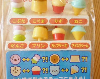 Cute Japanese Sweets / Animals Cupcake Topper & Food Decoration Picks - Bento