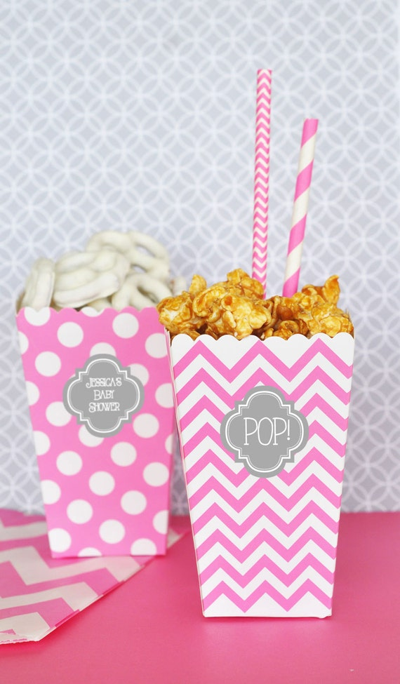 Pink and Gray Baby Shower - Pink and Grey Baby Shower Favors - Pink Baby Shower Ideas - Ready to Pop Popcorn Treat Boxes (EB4008P) 24 pcs