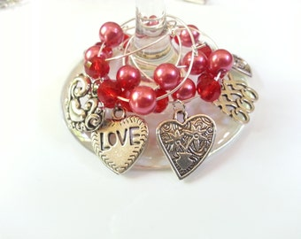 Hearts and pearls wineglass charms. Set of 6