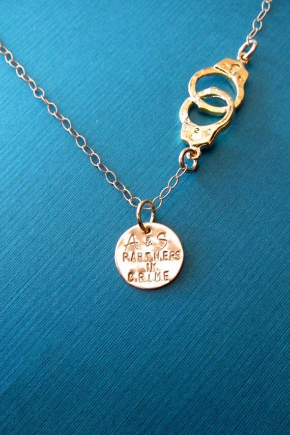 friendship necklace partners in crime handcuff necklace