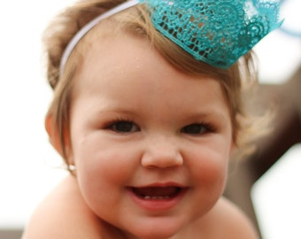 Aqua Sparkle Lace crown for Baby or Toddler